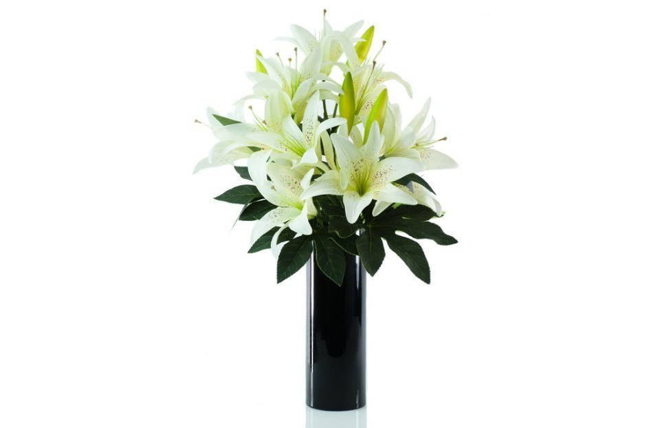 Silk King cream lily in black cylinder vase