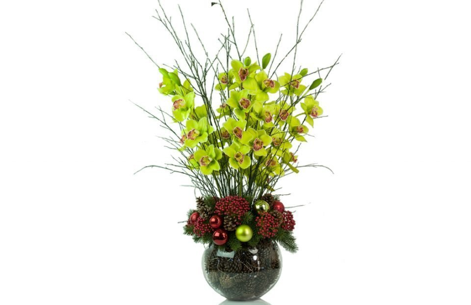 Christmas-cymbidium-orchid-centerpiece