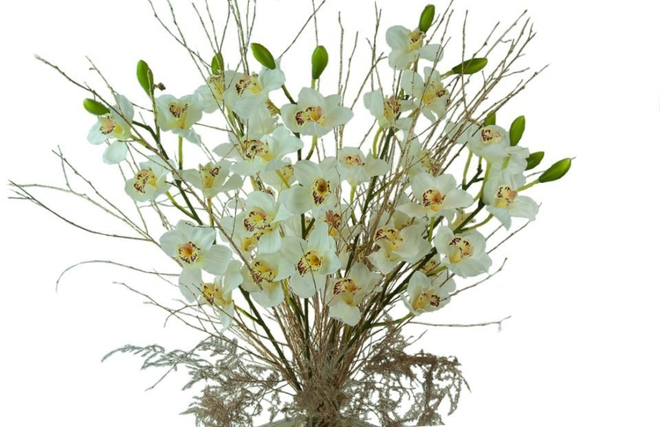 Stunning-faux-white-cymbidium-in-a-gold-vase