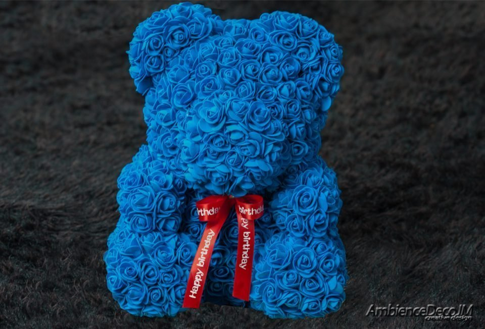 Large Rose Bear Blue