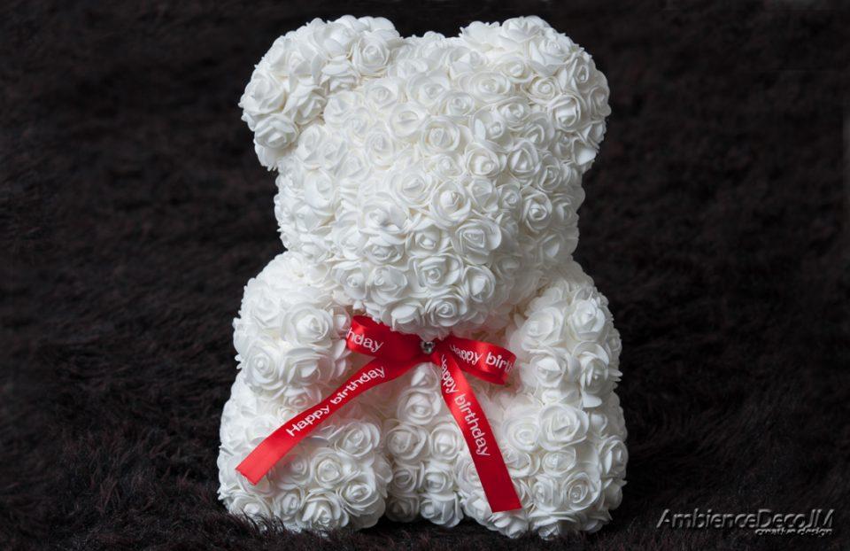 Big Rose Bear White