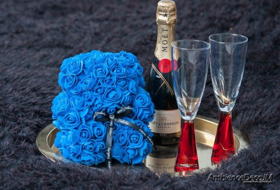 Small Rose Teddy Bear Blue