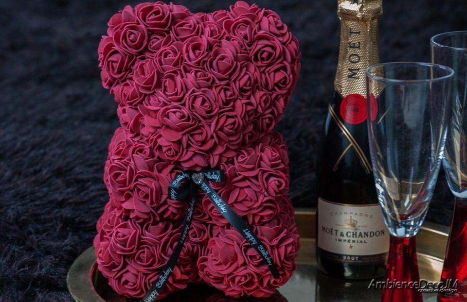 Rose Teddy Bear Burgundy