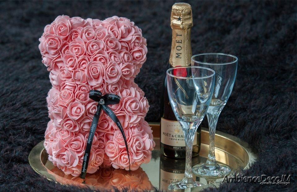 Rose Teddy Bear Peach UK