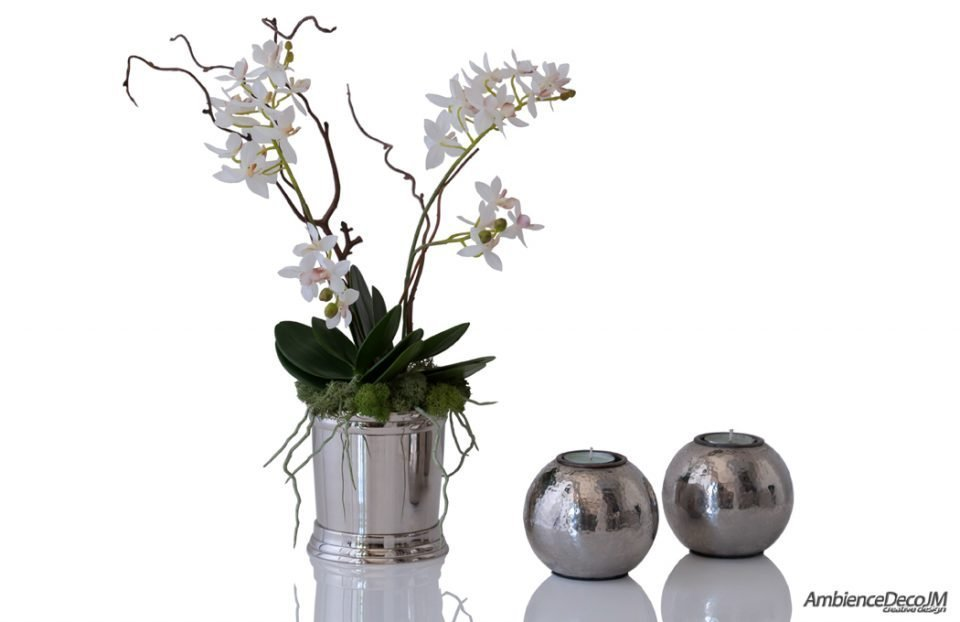 Artificial pixie orchid in silver goblet