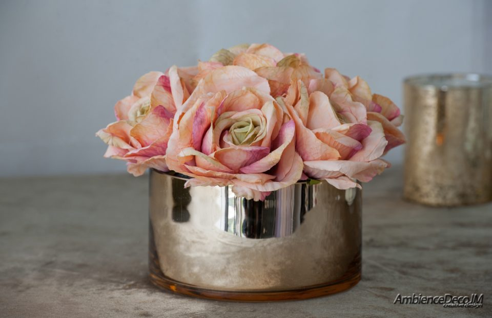 silk tea rose arrangement
